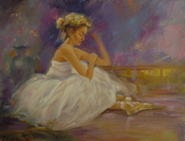Pred Nastup Oil Painting on Canvas Balerina