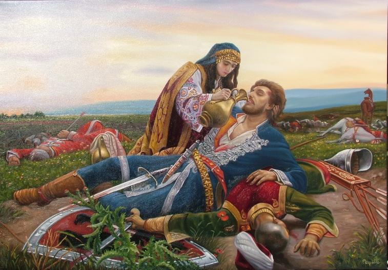 Kosovka Devojka - Ulje na platnu po Urosu  Predicu