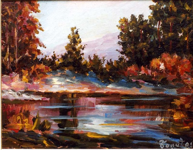 Slika Jezero 60x60 ulje na platnu
